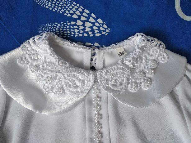 Блузка школьная, праздничная, кружево, р. 128