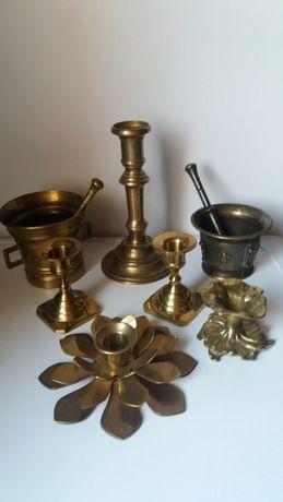 Mosiądz,stare świeczniki,moździerz,ozdoby z mosiądzu
