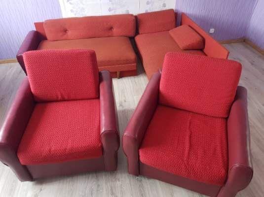 Kanapa narożna i dwa fotele PRL sofa wypoczynek fotel