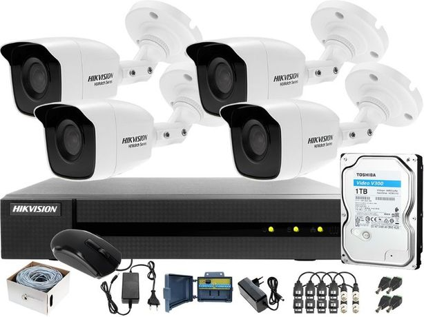 Zestaw 4 kamer bdb jakość 4,6,8,16 kamery montaż kamer monitoring FV23