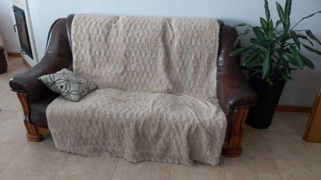 Conjunto 3 sofás em pele