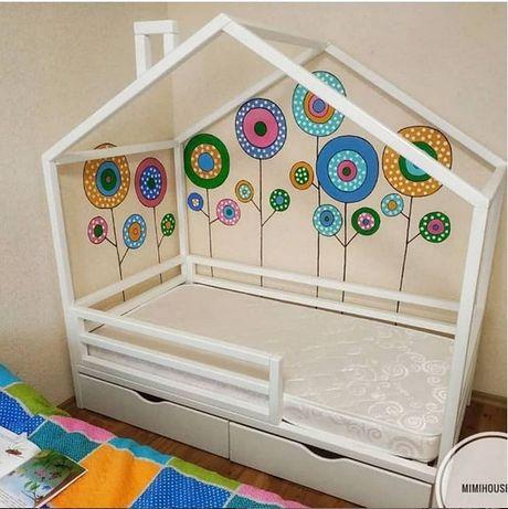 Кровать домик детская ольха массив.Ліжко будиночок дитяче арт 13
