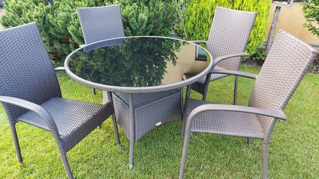 Zestaw mebli ogrodowych rattan brąz stół i krzesła