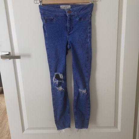 New look h&m zara jeansy dziury przetarcia wysokim stanem 140