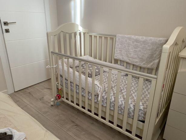 кровать Baby Italia с матрасом, цвет слоновой кости