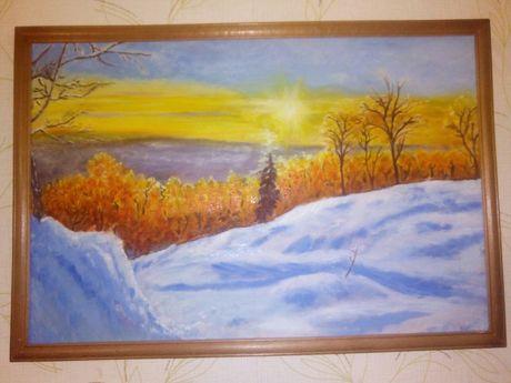Картина маслом зимний пейзаж