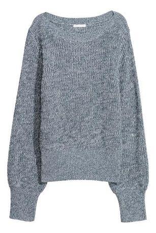 Sweter H&M S/36 niebiesko-szary melanż ze ściągaczami