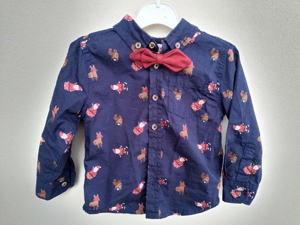 Классная новогодняя рубашка с бабочкой (размер 2-3года)