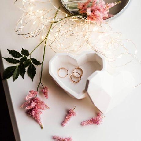 Бетонная шкатулка для украшений «Сердце» Свадебная шкатулка
