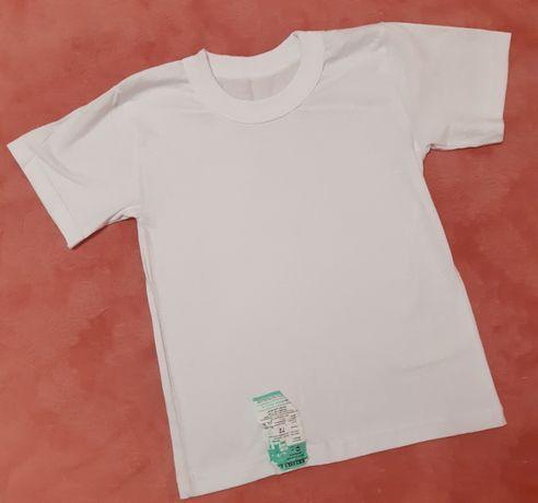 Новая белая футболка в школу, на физкультуру, рост 134см