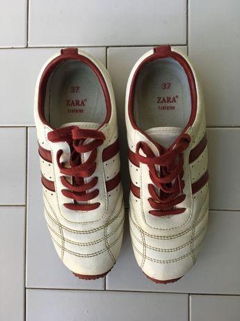 Dois pares de Tenis Zara (castanhos e brancos e vermelhos)