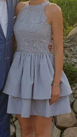 Sukienka S/M szara wesele