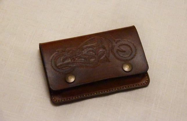 Portfel motocyklowy customowy skórzany ręcznie robiony męski