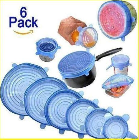 Набор многоразовых силиконовых крышек для посуды 6 штук