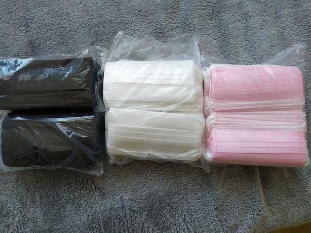 Maseczki jednorazowe 100 szt czarne białe różowe maseczka