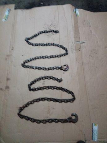 Łańcuchy zrywkowe dł. 2 m, grubość ogniwa 8 mm, wytrzymałość 9 ton.