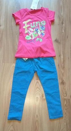 Nowy dziewczęcy komplecik różowa bluzka i niebieskie spodnie 98 104