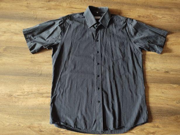 Czarna koszula męska C&A w białe paski L 41/42