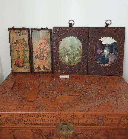 Quadros infantil paisagem madeira ferro couro dados poker arca cânfora