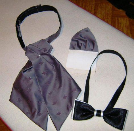 Krawat ślubny (musznik) i poszetka + mucha gratis