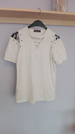 biały biała bluzka podkoszulek wiązania wiązana sznurki modna m 38 hit