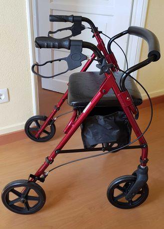 Andarilho assento com rodas e travão como novo