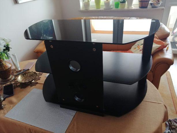 Stolik RTV - aluminiowo - szklany, czarny