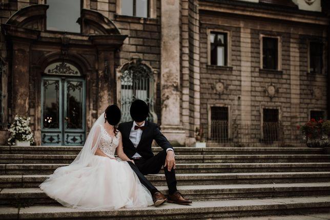 Suknia ślubna 2020r. 34/36 ivory + długi welon