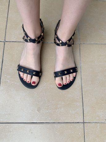 Sandały damskie buty na lato czarne 39 rozmiar skórzane