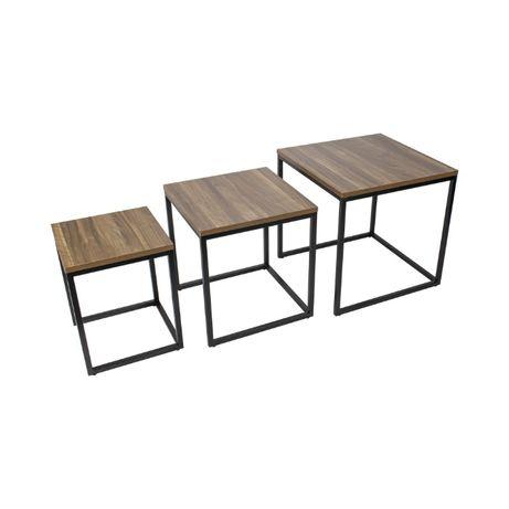 Mesa de centro em madeira/mesa de apoio - conjunto de 3 mesas - MINGUS