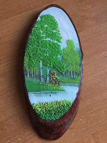 Картина на дереве из натуральных камней
