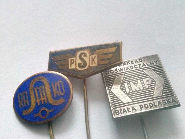 Odznaki metalowe Rafako, PSK, IMP Biała Podlaska.