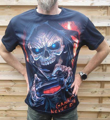 Nowa koszulka czacha czaszka game nadruk 3D 6xl