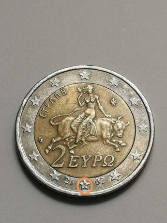 """Moeda Rara 2€ Grécia 2002, com """"S"""" numa estrela"""