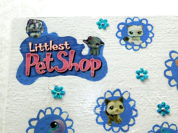 Littles pet shop duża drewniana skrzynia na zabawki rękodzieło