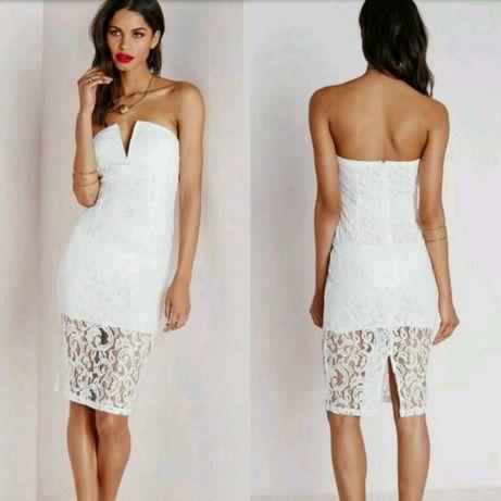 Белое кружевное платье missguided с сайта asos