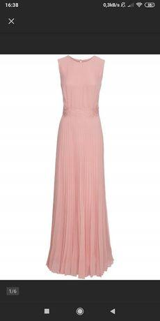 Nowa suknia maxi 40, plisowana, blady róż
