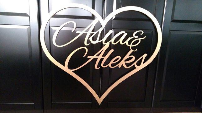 Drewniane serce wesele Asia Aleks 100x90