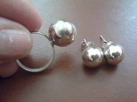 Pierścionek plus kolczyki kulki - srebro