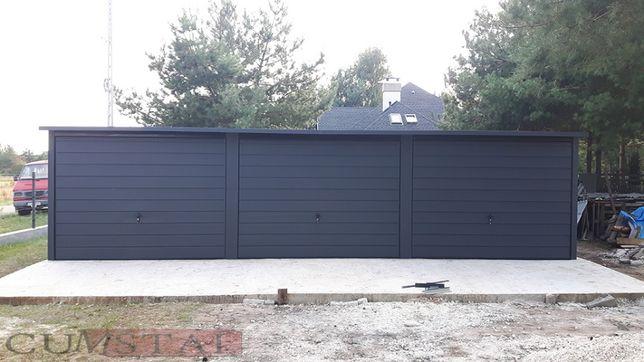Garaż blaszany TRZYSTANOWISKOWY 9x5 Grafit - garaże blaszane , wiaty