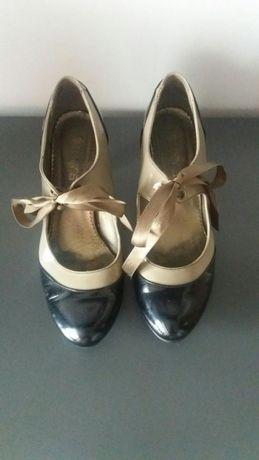 Lakierki pantofle czółenka Kolor czarny i beżowy 37. Ozdobna kokarda
