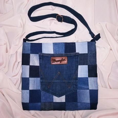 Torebka torba jeansowa listonoszka rękodzieło (handmade upcykling)