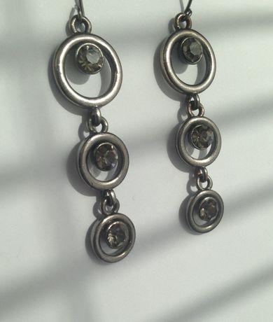 kolczyki wiszące sztuczna biżuteria brązowe