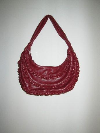 Bordowa, czerwona mała torebka