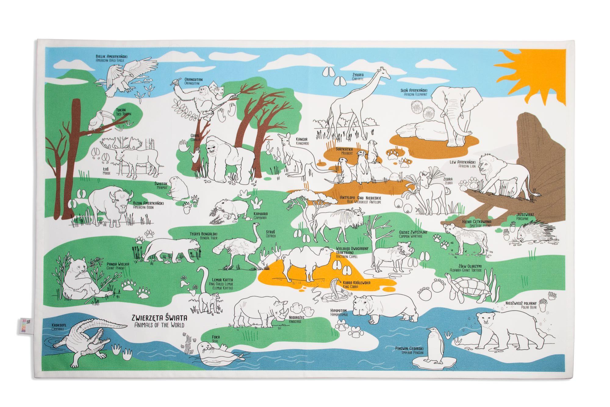 Obrus Zwierzęta świata do kolorowania