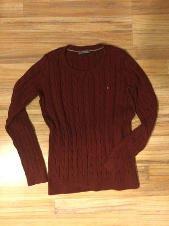 Sweter TOMMY HILFIGER oryginalny bordowy bordo splot warkocz S 36 M 38