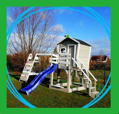 """Duży bajkowy """"KRZYWY"""" domek XL dla dzieci, plac zabaw, huśtawki, ślizg"""