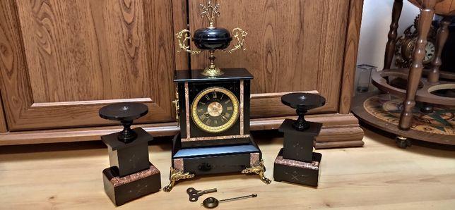 Zegar kominkowy czarny marmur z przystawkami ,XIXw,Francja