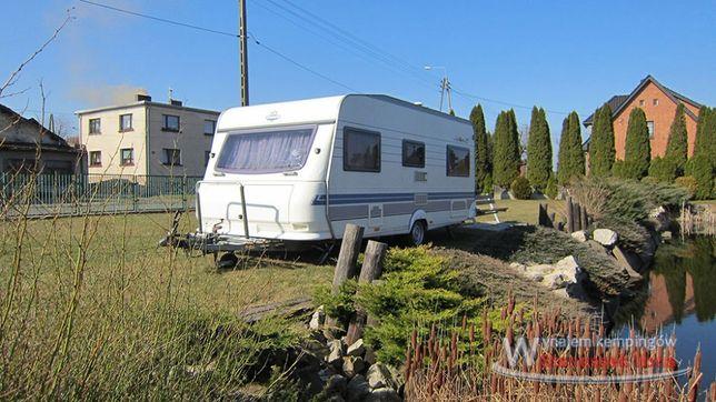 Wynajem przyczepy kempingowej Hobby 495 wypożyczalnia Camping kamping