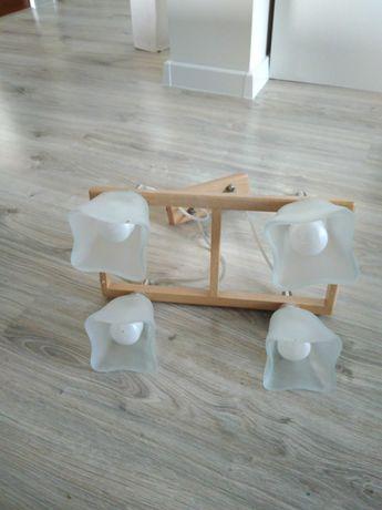 Lampa , 4 klosze, drewno